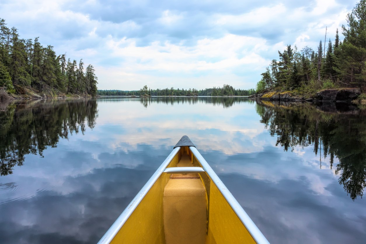 canoe on a calm lake