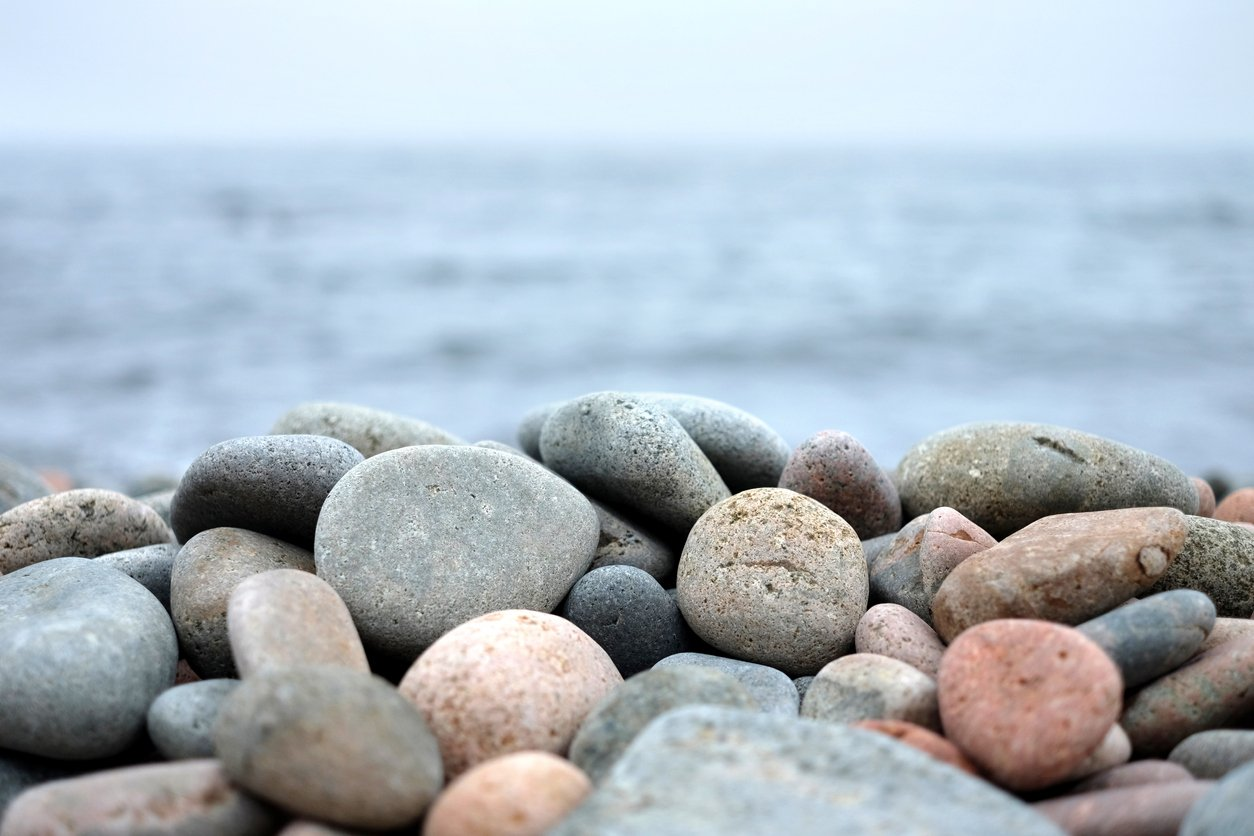 stones in front of water